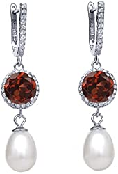 4.49 Ct Round Red Garnet Cultured Freshwater Pearl 925 Sterling Silver Earrings