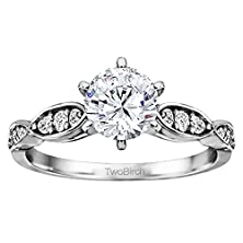 buy Delicate Stackable Engagement Ring Bridal Set, Includes Matching Ring With 1.45 Cts Of Cz In 10K White Gold