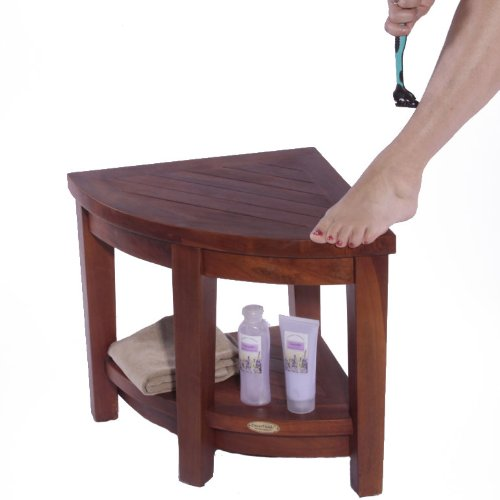 Oasis FULLY ASSEMBLED Teak Corner Shower Bench With Shelf- Shower Sitting, Storage, Saving Foot Rest