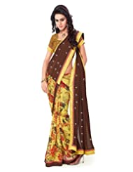 Inddus Exclusive Women Beautiful Yellow N Brown Georgette Printed Saree