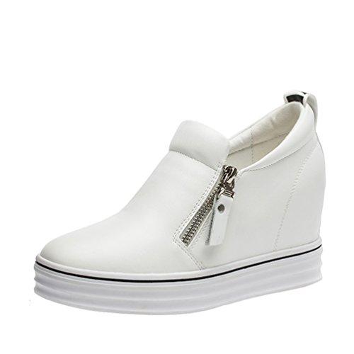 Passionow Women's Casual Round Toe Platform Wedge Heel Zipper Shoes(8 B(M)US,white)