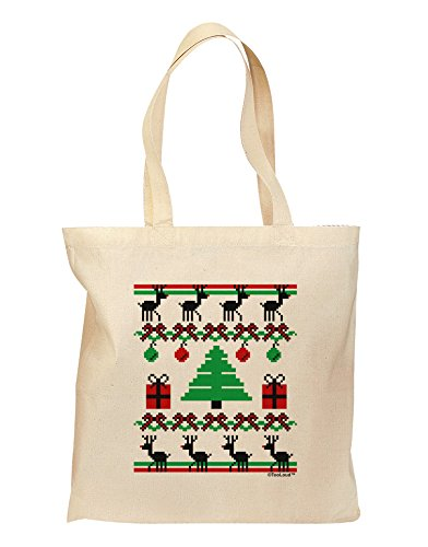 TooLoud Tree with Gifts Ugly Christmas Sweater Grocery Tote Bag - Natural