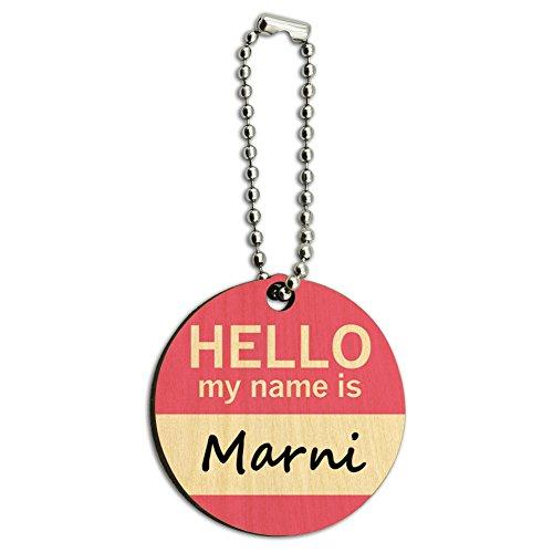 Marni Hello My Name Is Wood Wooden Round Key Chain