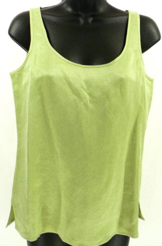 Eileen Fisher Scoopneck Shell Tank Top Shirt Silk Linen Blend Pear XS