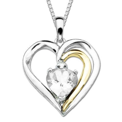 S&G Sterling Silver and 14k Gold White Topaz Heart Pendant Necklace, 18