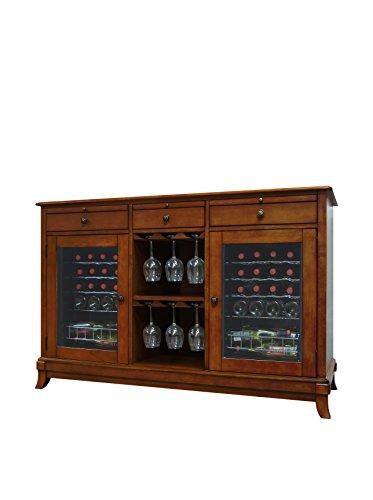 Vinotemp 36-Bottle Cava Dual-Zone Thermoelectric Wine Credenza, Rich Maple