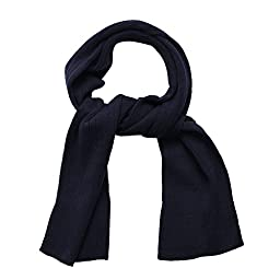 SANREMO Unisex Kids Ribbed Knitted Warm Winter Outdoor Scarf Shawl (Navy)