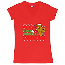 Merry Hump Day Christmas Camel Juniors V-Neck T-Shirt
