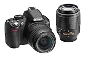 Nikon D3100 14.2MP Digital SLR Double Zoom Lens Kit with 18-55mm, 55-200mm DX Zoom Lenses and 3-Inch LCD Screen (Black)