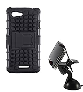 Aart Hard Dual Tough Military Grade Defender Series Bumper back case with Flip Kick Stand for Sony E3 + Car Mobile Holder Mount Bracket Holder Stand 360 Degree Rotating by Aart store.