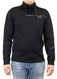 Calvin Klein Men\'s Mix Media Performance Fleece Mock Neck Sweat Shirt, Black, Medium