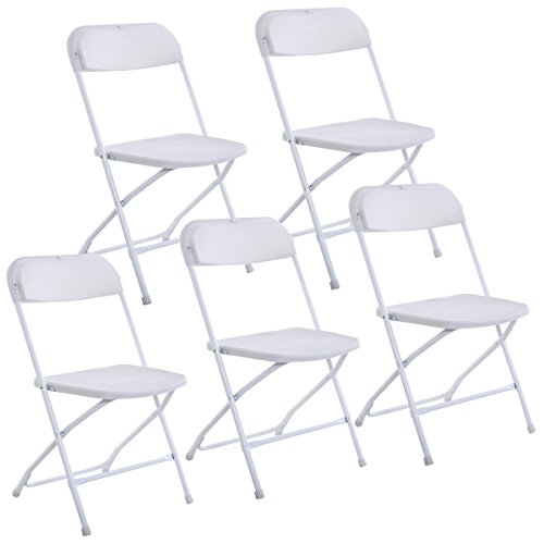 Giantex Set of 5 Plastic Folding Chairs Wedding Party Event Chair Commercial White