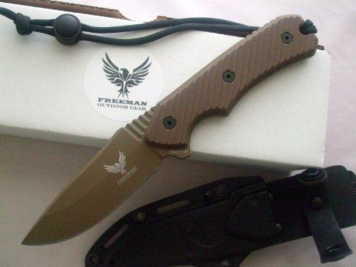 """Freeman Outdoor Gear 451 4"""" Fixed Blade Knife Flat Dark Earth Blade Brown Handle"""