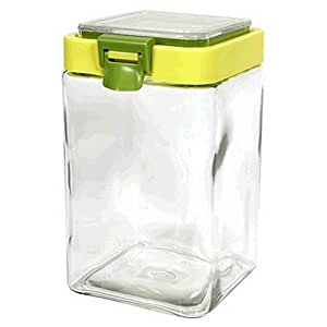 Canister jar clear glass square for Clear bathroom containers
