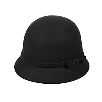Vbiger Fashion New Women Vintage Wool Round Fedora Cloche Cap Wool Felt Bowler Hat