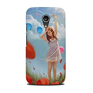Mikzy Girl Standing In A Pose Printed Designer Back Cover Case for Moto G2 (Multicolour)