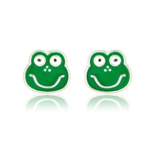 Green frog fashion earrings - Stud costume jewellery earrings - arrive in gift bag