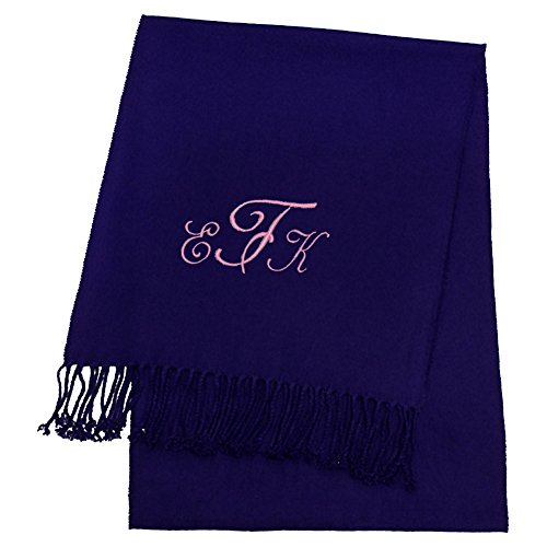 KYS Womens Personalized Cashmere Feel Scarf Navy