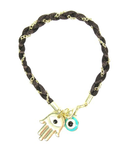 Brown Hamsa Evil Eye Bracelet Chain Linked Hand of Miriam Nazar Friendship Braided Judaica Amulet Karma Fashion Jewelry