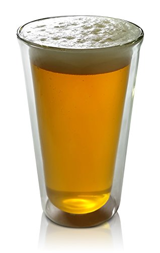 Princeton Wares Double Wall Glass Insulated Beer Glass Tumbler 14 Ounce Pint-Shape