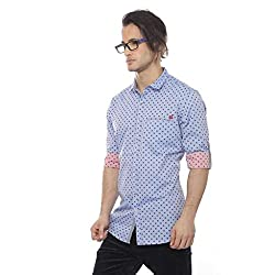 Apris Mens F/Slv All Over Printed Shirt-I.BLUE (S-3302) (M)