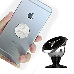 Mobile Phone Car Mount, Universal Magnetic Cell Phone Cradle Dashboard Car Mount Holder (Silver)
