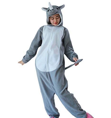 a063ef760d Fandecie Ropa de Dormir Pijamas Unisexo Adulto Traje Disfraz Animal Cosplay  Costume Pyjamas Halloween Gris Rinoceronte Adecuado para alta 160-175cm