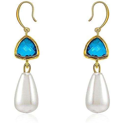 Multicolore, con strass, fai da te, femmina, con orecchini a goccia, perla simulata, colore: bianco, Rame, colore: blu, cod. Pearl Triangle 400