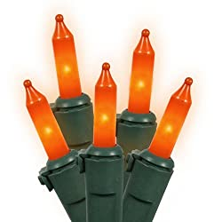 Set of 50 Opaque Orange Mini Christmas Lights - Green Wire