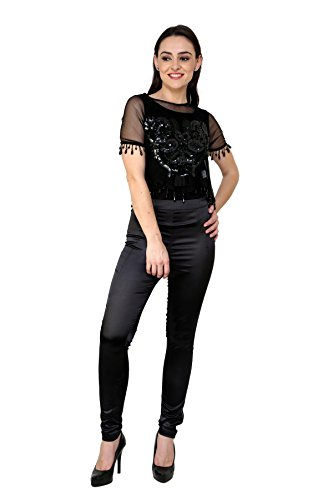 I am For You Women Polyester BLACK Tops (Large)