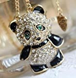 JADE Olines Fans Charms Accessories Creative Adorable Lovely fashion Rhinestone Panda Pendant Necklace