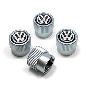 Volkswagen Black Logo Chrome Tire Stem Valve Caps