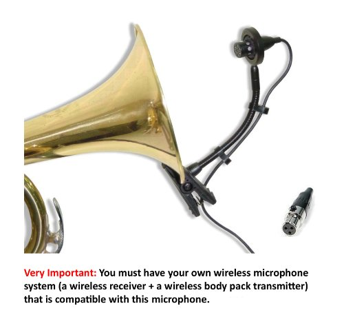 Av-Jefe Professional Wind Instrument Microphone For Akg /Samson Wireless Systems_With Mini Shock Mount Holder; Great For Horns, Trumpets, Clarinets, Saxophones, And Drums