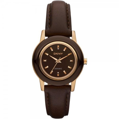 DKNY NY8641 Ladies Ceramix Brown Leather Watch
