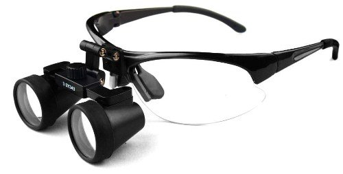 "Featured On ""Bones"" -- Dental Surgical Medical Binocular Loupes -- 2.5X500Mm Working Distance -- Flip Up Black Sports Frame"
