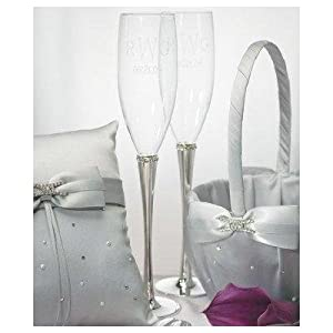 Ring of Crystal Glass Toasting Flutes - Wedding Toasting Flutes