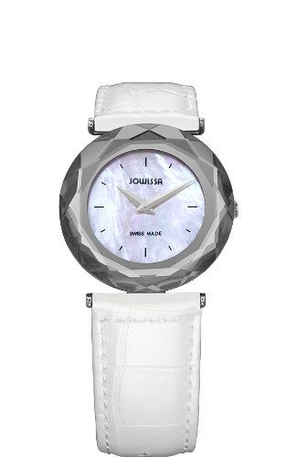 Jowissa Safira 99 Women's Quartz Watch with Mother of Pearl Dial Analogue Display and White Leather Strap J1.001.M