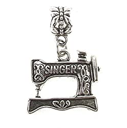 Antique Silver Plated Sewing Machine Dangle Charm for Snake Chain Charm Bracelet