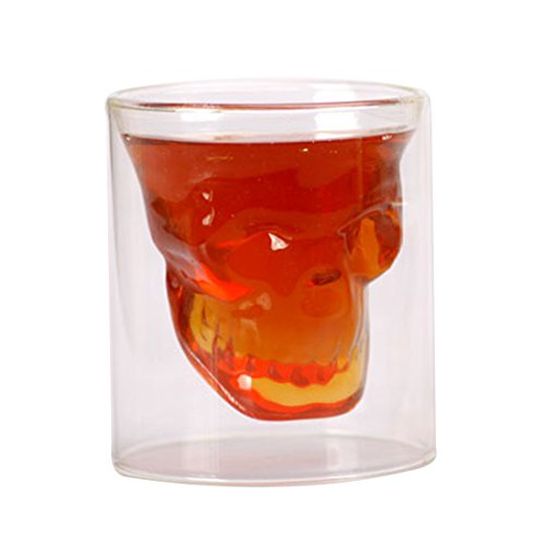 Cups,BBDI 250ML Glass Cup Skull Head Shaped Wine Beer Glass Goblet