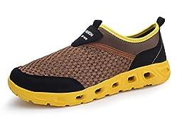 Luoine Men\'s Mesh Water Shoes Comfort Walking Shoes Brown 10.5 D(M) US