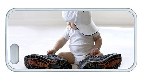 Hipster For Sale Iphone 5 Covers Baby With Big Shoes Tpu White For Apple Iphone 5/5S front-914125