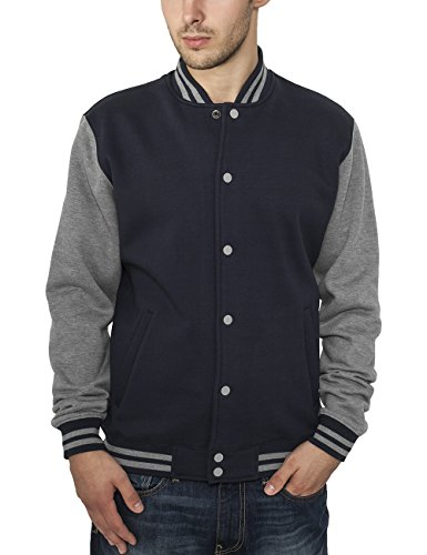 Urban Classics - 2-tone College Sweatjacket, Giacca uomo, nvy/gry 165, X-Small