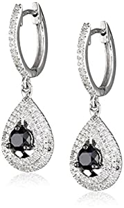 10k White Gold Black and White Diamond Drop Earrings (1 1/4 cttw)