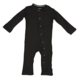 KicKee Pants Neutral Baby Onepiece Coverall Romper, Midnight Black, 0-3 Months
