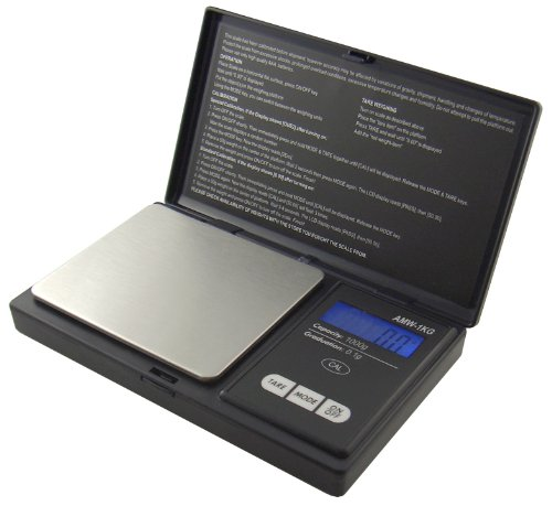 American Weigh Signature Series Black AWS-1KG Digital Pocket Scale, 1000 by 0.1 G