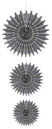 Darice David Tutera 3 Piece Hanging Die Cut Tissue Medallion, Silver - 1