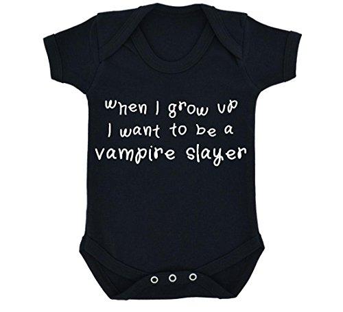 When I Grow Up I Want To Be A Vampire Slayer-Body per neonato, con motivo: Nero, colore: bianco nero 6-12 Mesi