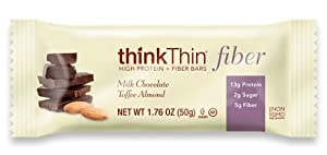 Thinkthin High Protein Plus Fiber Bar, Chocolate Peanut Butter Toffee, 50 g Bars, 10 Count