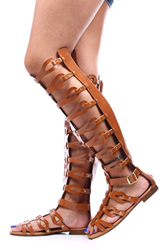 Forever Faux Leather Strappy Knee High Gladiator Sandals 65 Tan front-902896