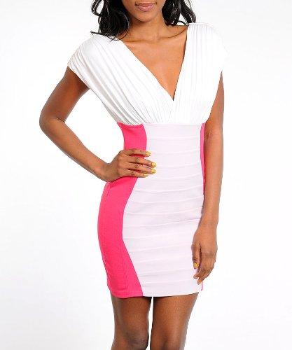 G2 Fashion Square Pink Colorblock Bodycon White Dress: